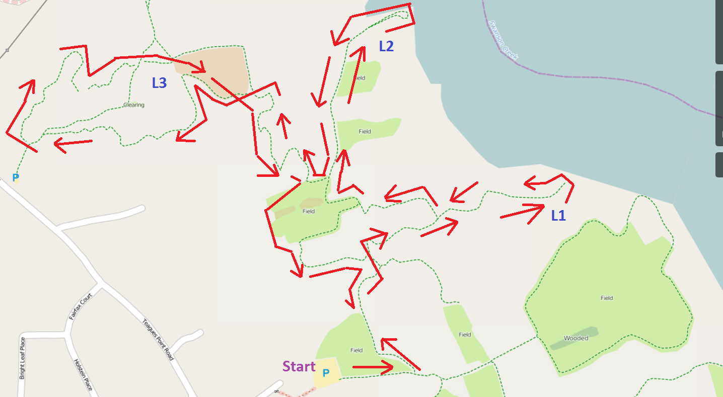 Maxwell Hall Park Trail Course Map